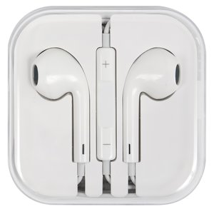 Headphone compatible with Apple Cell Phones; Apple Tablets; Apple MP3-Players, (white, TRRS 3.5 mm)