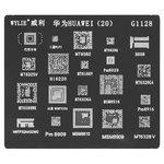 BGA Stencil G1128, (PM8029, MT6628Q, MT6589WK, MT6582, MT6323GA, MT6320GA, MT6166, MSM8916, HI6220, H9TP32A4GDMC, B608, 20 in 1)