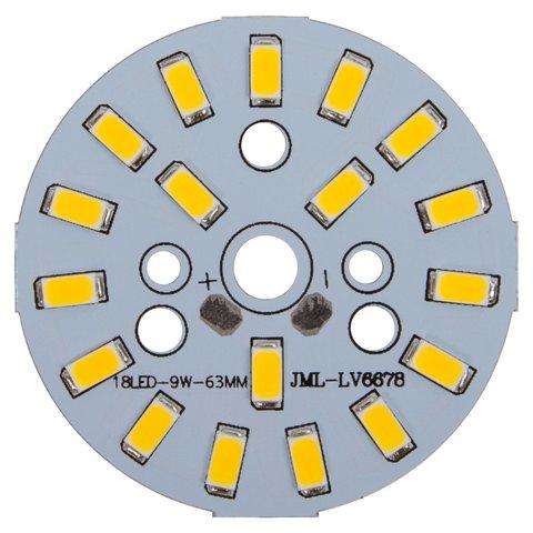 Плата зі світлодіодами 9 Вт теплий білий, 1080 лм, 63 мм
