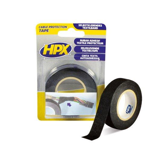 Стрічка одностороння тканинна HPX 19 мм, 25 м, чорна картонна упаковка